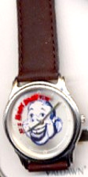 1998 Valdawn NBC Howdy Doody Show Round Wrist Watch Brown Leather band MIB Retired (Image1)