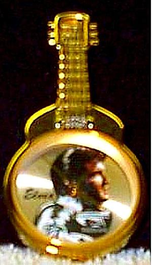 '93 ELVIS LE Gold Guitar Round Wrist Watch Black Leather Band Valdawn Cert COA #62103 (Image1)