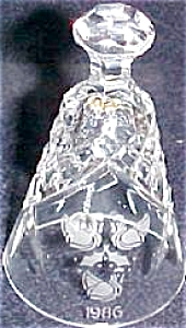 1986 Three 3 French Hens 12 Twelve Days of Christmas WATERFORD Xmas Crystal Bell '86 (Image1)