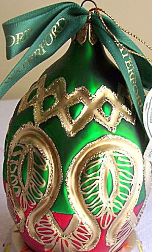 Waterford 2006 Peacock Grande Egg Holiday Heirloom # 105917 LE Poland Glass Ornament (Image1)