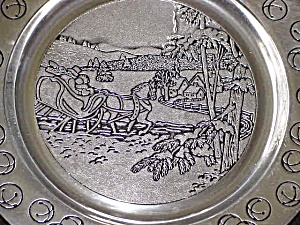 Wilton Armetale Annual Christmas JINGLE BELLS Holiday Plate 1991 Pewter Song Series91 (Image1)