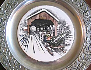 Wilton Pewter Plate Covered Bridge Winter Scene Horse Wagon Sleigh Home Tree Fine $50