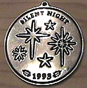 1993 Wilton Armetale Christmas Carol Silent Night Pewter Stars 3 In. Round Ornaments