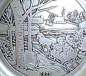 1979 WILTON PEWTER #2 CURRIER & IVES SERIES ANNUAL CHRISTMAS Covered Bridge Victorian (Image1)