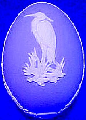 1978 WEDGWOOD BLUE JASPER STORK EGG BOX #2 Whooping Crane Herron Wedgewood (Image1)