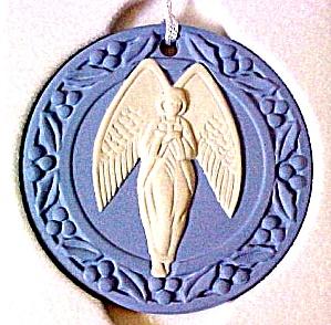 1989 Wedgwood Annual Round Flat J1000 #7358 #2 Blue Jasper Angel Wedgewood MIB (Image1)