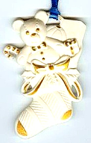 England Wedgwood White Jasper Flat Stocking & Teddy Bear Gold Accents Not Dated