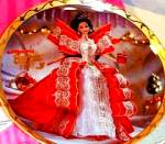 Click here to enlarge image and see more about item BARBIE10: 1997 Happy Holidays Barbie Enesco Mattel LE Plate #274259 Brunette Annual Doll Box