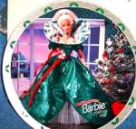 Click here to enlarge image and see more about item BARBIE8: 1995 Happy Holidays Barbie Enesco Mattel LE Plate #143154 Annual Blonde