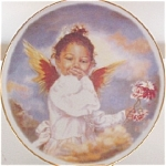 Click here to enlarge image and see more about item BOOTLEG1: African American Black Angel Baby Cherub W/Flower Artist Sandra Kuck NB Homemade Test