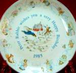 Click here to enlarge image and see more about item BPOTTER12: '85 BEATRIX POTTER PETER RABBIT BIRTHDAY Plate 1985 Nurseryware Nursery Ware Wedgwood
