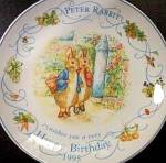 Click to view larger image of '95 BEATRIX POTTER PETER RABBIT BIRTHDAY Plate 1995 Nurseryware Nursery Ware Wedgwood (Image1)