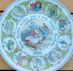 Click here to enlarge image and see more about item BPOTTER16: Peter Rabbit 1993 Happy Birthday Wedgwood Wedgewood #89852 Potter Umbrella Windy Day