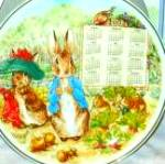 Click here to enlarge image and see more about item BPOTTER17: 2002 Calendar Peter Rabbit Plate Wedgwood Wedgewood Box Beatrix Potter Gardening '01