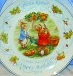 Click here to enlarge image and see more about item BPOTTER18: 2000 BIRTHDAY BEATRIX POTTER PETER RABBIT Nurseryware Wedgwood Queensware Wedgewood