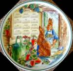 Click here to enlarge image and see more about item BPOTTER19: 2001 Calendar Peter Rabbit Plate Wedgwood Wedgewood Box Beatrix Potter Geraniums '01