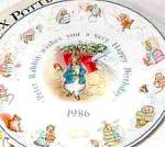 Click here to enlarge image and see more about item BPOTTER1: '86 BEATRIX POTTER PETER RABBIT BIRTHDAY Plate 1986 Nurseryware Nursery Ware Wedgwood