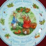 Click here to enlarge image and see more about item BPOTTER3: '00 BEATRIX POTTER PETER RABBIT BIRTHDAY Plate 2000 Nurseryware Nursery Ware Wedgwood