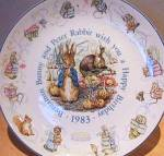 Click here to enlarge image and see more about item BPOTTER6: '83 BEATRIX POTTER PETER RABBIT BIRTHDAY Plate 1983 Nurseryware Nursery Ware Wedgwood