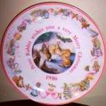 Click here to enlarge image and see more about item BPOTTER7: 1986 PETER RABBIT CHRISTMAS Beatrix Potter Wedgwood Wedgewood