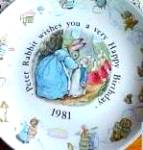 Click here to enlarge image and see more about item BPOTTER8: '81 BEATRIX POTTER PETER RABBIT BIRTHDAY Plate 1981 #1 Queen's Ware Wedgwood Nursery