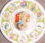 Click here to enlarge image and see more about item BPOTTER9: '90 BEATRIX POTTER PETER RABBIT BIRTHDAY Plate 1990 Nurseryware Nursery Ware Wedgwood