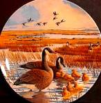 Click here to enlarge image and see more about item CANADA4: '87 Family WINGS UPON THE WIND DOMINION China BRADFORD 8-D52-1.4 Canada Geese Pentz