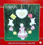 Click here to enlarge image and see more about item CARL101: BABY'S FIRST CHRISTMAS GIRL CXOR-029Y Box#20 Bunny Rabbit Shepherdess 1998