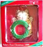 Click here to enlarge image and see more about item CARL103: BABY'S FIRST CHRISTMAS ANGEL CAT PICTURE HOLDER 1 1/4 IN. WREATH DATED 1996