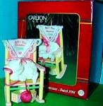 Click to view larger image of Baby Girl's First Christmas 1998 Carlton Adorable White Cat Kitten Rocking Chair MIB (Image2)