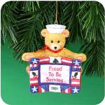 Click here to enlarge image and see more about item CARL182: Amer Greetings Proud to Be Serving 01 NAVY MMORN-1006E Bear 6th Anniv Op Santa Sailor