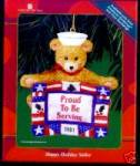 Click to view larger image of Amer Greetings Proud to Be Serving 01 NAVY MMORN-1006E Bear 6th Anniv Op Santa Sailor (Image2)