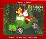 Click here to enlarge image and see more about item CARL25: 1997 SANTA'S ON HIS WAY PX ONLY OPERATION SANTA Jeep Military Patriotic Last - Series