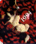 Click to view larger image of 1994 #4 Purr-fect Purrfect Holidays Series M. Gilmore #ORN115L Black White Cat Kitten (Image1)