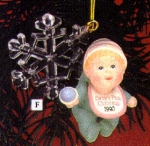Click here to enlarge image and see more about item CARL36: 1990 102368-3 Baby's First Christmas : A Gift from Heaven / M. Gilmore green pjs
