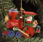 Click here to enlarge image and see more about item CARL39: Christmas Express 1992 120477-7 #1 Engine Santa North Pole Limited' train engine