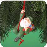 Click to view larger image of 2001 MMORN-1016E HOLIDAY MISSION 6th Anniv. Rapelling Santa Green Fatigues AAFES BDUs (Image1)