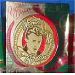 Click here to enlarge image and see more about item CARL67: 1998 UXOR-001Y JAMES DEAN COLLECTIBLE 18K GOLD-PLATED Round Flat ORNAMENT 1 IN Series