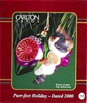 Click here to enlarge image and see more about item CARL86: Purr-fect Holiday #10 White Gray Cat Kitten 2000 CXOR-130C M Gilmore Designs MIB 118