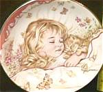 Click here to enlarge image and see more about item CB2: MONDAY'S CHILD A CHILD'S BLESSING Pam Cooper CrownWare Eng Hamilton Blonde Girl Kitty