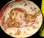 Click to view larger image of MONDAY'S CHILD A CHILD'S BLESSING Pam Cooper CrownWare Eng Hamilton Blonde Girl Kitty (Image2)