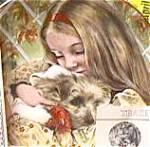 Click here to enlarge image and see more about item CB4: WEDNESDAY'S CHILD A Child's Blessing Cooper CrownWare Hamilton Girl Puppy ROYAL WORCE