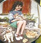 Click here to enlarge image and see more about item CB6: FRIDAY'S CHILD A Child's Blessing Cooper CrownWare Hamilton Girl Cat Dog Chick Bunny