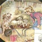 Click to view larger image of SATURDAY'S CHILD A Child's Blessing Cooper CrownWare Hamilton Girl Dog Litter Royal W (Image1)