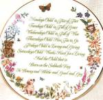 Click here to enlarge image and see more about item CB8: Mondays's Child A Child's Blessing Pam Cooper CrownWare Hamilton Royal Worcester folk