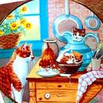 Click here to enlarge image and see more about item CK1: TABLE MANNERS Country Kitties 1989 Gre GERARDI Kittens Watched By Momma Tabby Cat
