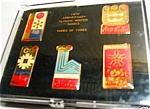 Click here to enlarge image and see more about item COKE2: Coke Coca Cola Winter Olympics Games Pin Set of 5 Third Of Three 15th Anniversary Box