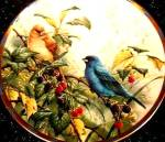 Click here to enlarge image and see more about item COLLAGE1: Lenox Collector Plate Indigo Evening NIB '94 Natures Collage Collection Nature's Bird