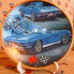 Click here to enlarge image and see more about item CORVETTE1: Enesco CollectibleMini-Plate 1965 Chevrolet Corvette Hot GMC #174890 Blue Convertible