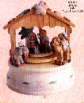 Click here to enlarge image and see more about item CT4: CHERISHED TEDDIE Nativity w/Creche Revolving Mini #903485 Enesco Silent Night Musical